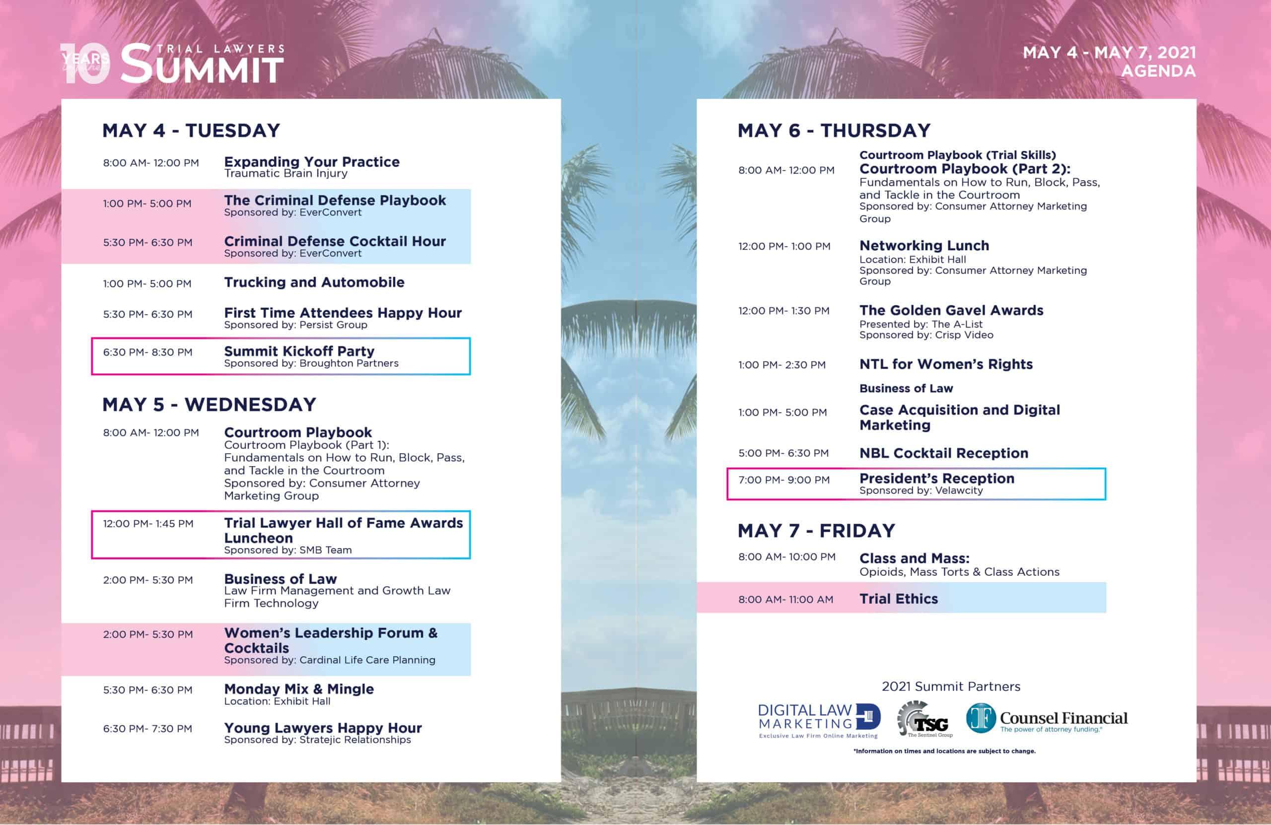 Trial Lawyers Summit 2021 Agenda